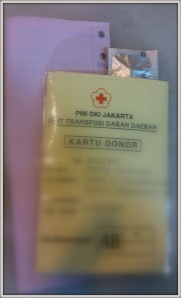 Kartu donor Gol. darah AB